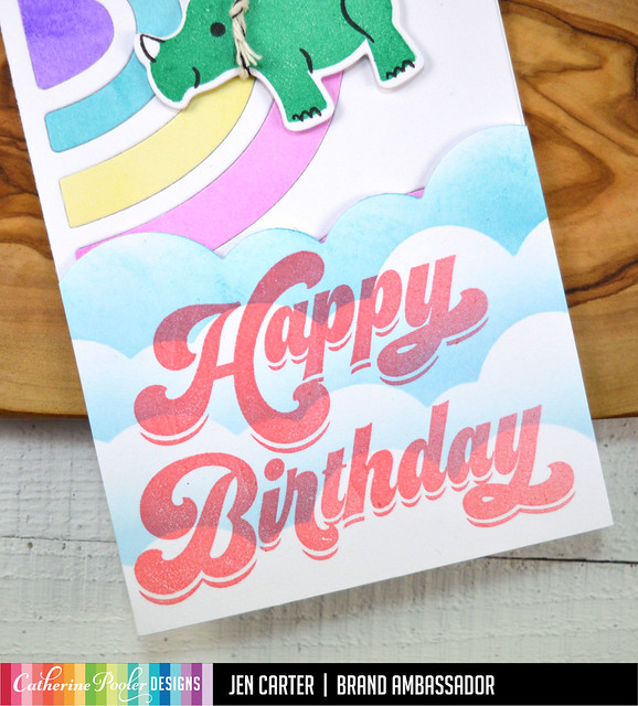 Jen Carter Slimline Rainbow Rhino Birthday Closeup 2