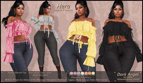 Hera - XLong Sleeved Top+High Waist Jeans+High Waist Belt | by Dark Angel : Angel's Designs