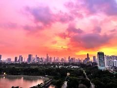 Pink & hazy & slightly rainy #sunset from our balcony last night #bangkok