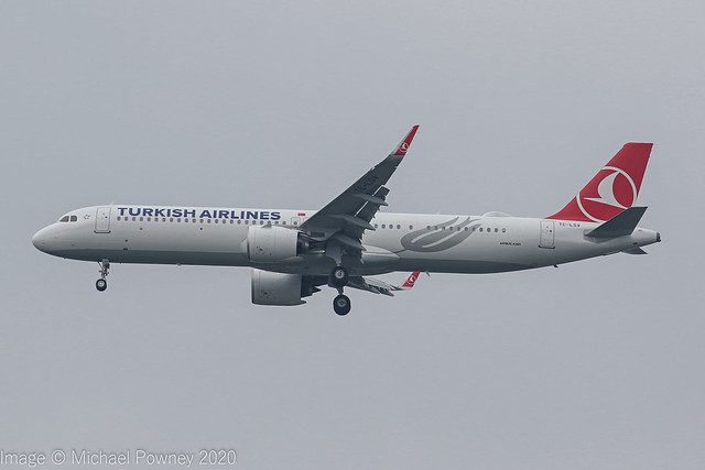 TC-LSV - 2020 build Airbus A321-271NX, on approach to Runway 23R at Manchester