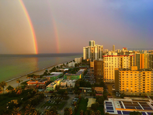 hollywood beach doublerainbow rainbow sea coast ocean weather photo by kaylacook condo buildings sunset light