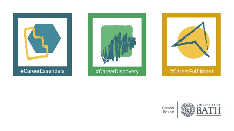 Three logos in blue (#CareerEssentials), green (#CareerDiscover) and yellow (#CareerFulfilment)