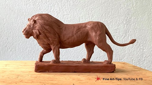 HOW TO SCULPT A LION (REALISTIC) IN CLAY - Modeling a big cat | by fineart-tips