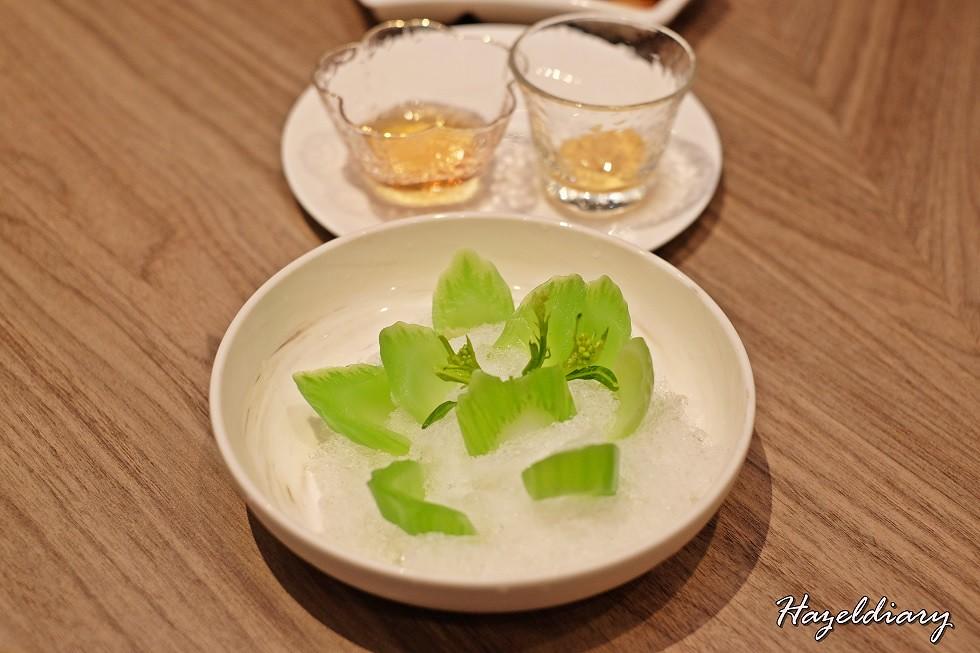 Si Chuan Dou Hua UOB Plaza- Chilled Organic Mustard Green with Mustard Sauce and Honey Sauce