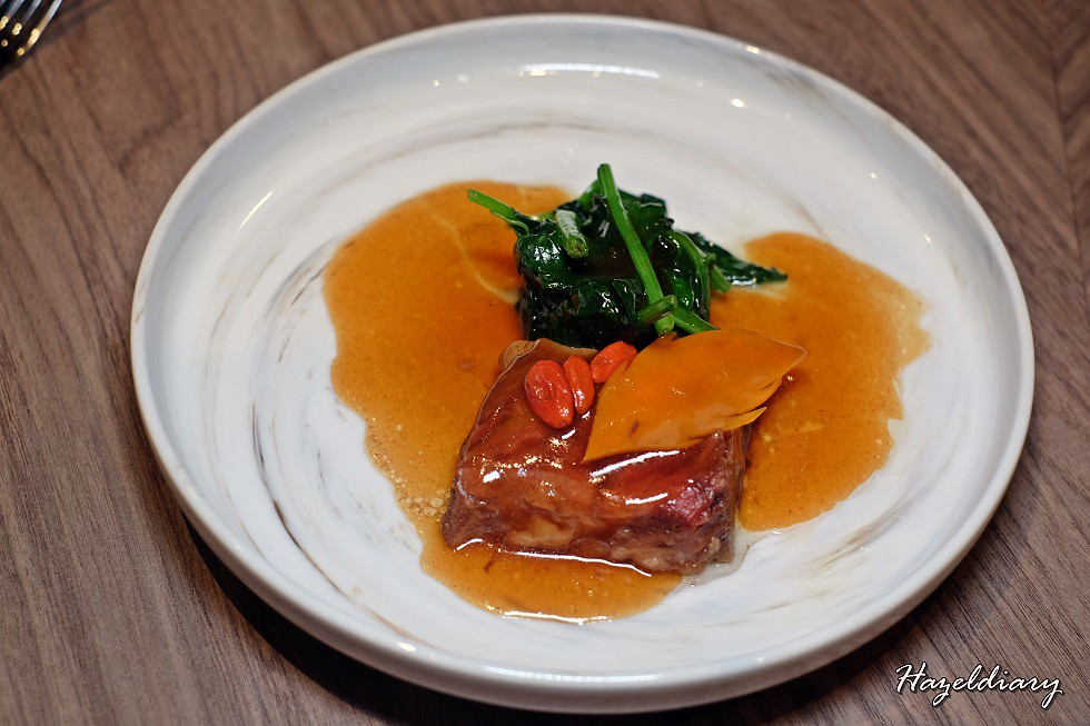 Si Chuan Dou Hua UOB Plaza-48 Hours Braised Wagyu Beef with Organic Wolfberries and Organic Spinach