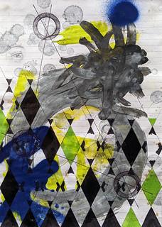 Zavier Ellis 'Constellations III', 2020 Oil, acrylic, spray paint, marker, biro, pencil on paper 29.7x21cm