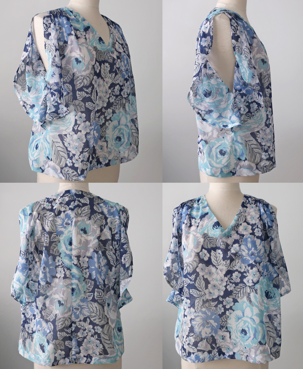 Blue voile flutter sleeve top composite