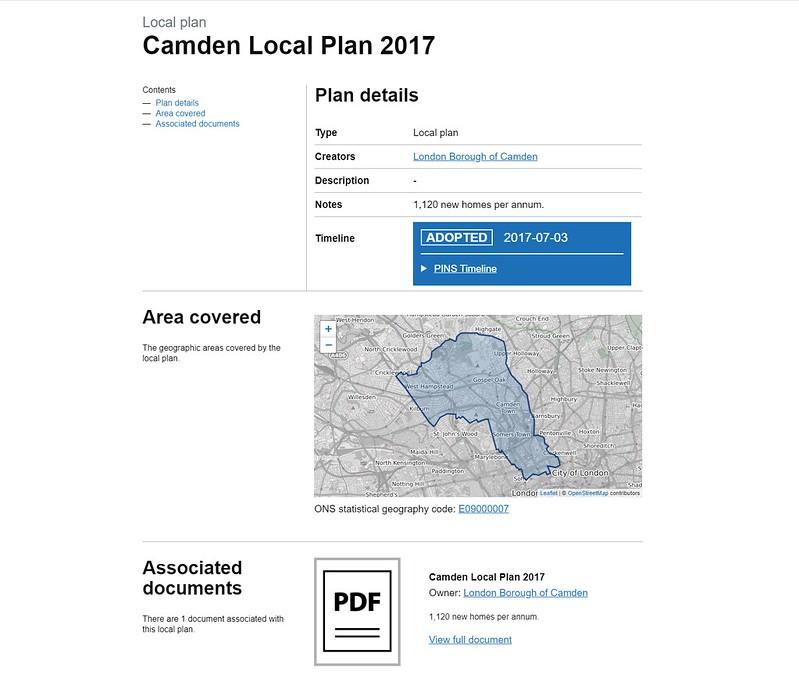 Screenshot of a local plan page: Camden council