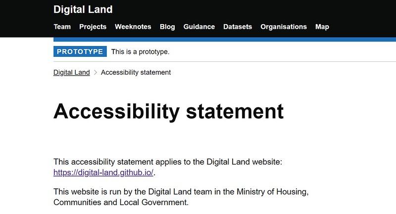 Accessibility statement screenshot