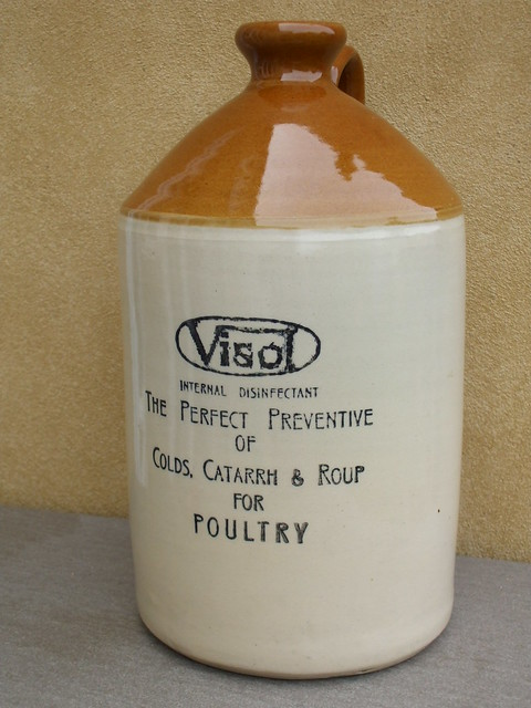 Large Vintage James Pearson Of Chesterfield Stoneware Bottle Advertising Visol Internal Poultry Disinfectant