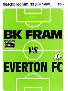BK Fram v Everton 22/07/1994