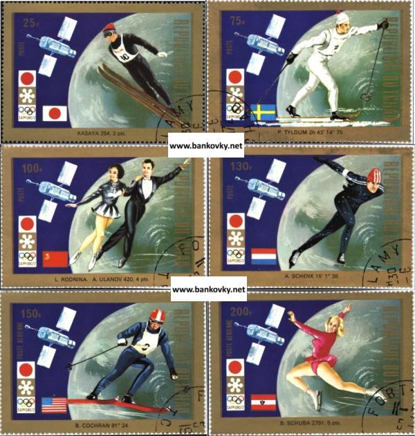 Známky Čad 1972 ZOH Sapporo, razítkovaná séria