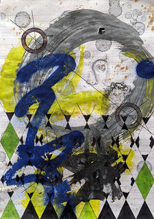 Zavier Ellis 'Constellations I', 2020 Oil, acrylic, spray paint, marker, biro, pencil on paper 29.7x21cm