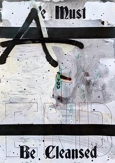 Zavier Ellis 'Be Cleansed (Sin) I', 2020 Acrylic, spray paint, biro on digital gloss print 29.7x21cm