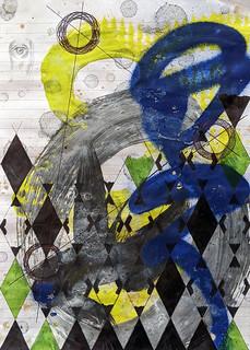 Zavier Ellis 'Constellations IV', 2020 Oil, acrylic, spray paint, marker, biro, pencil on paper 29.7x21cm