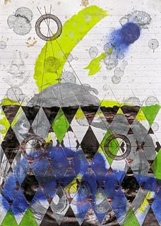 Zavier Ellis 'Constellations II', 2020 Oil, acrylic, spray paint, marker, biro, pencil on paper 29.7x21cm