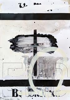 Zavier Ellis 'Be Cleansed (Saves) I', 2020 Acrylic, spray paint, biro on digital gloss print 29.7x21cm