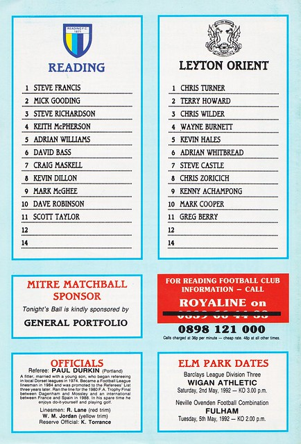 Reading vs Leyton Orient - 1992 - Back Cover Page
