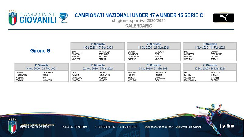 Calendario Girone G campionati Under 17 e Under 15 Serie C
