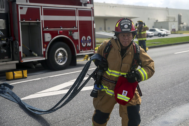 Fire fighters from Marine Corps Installation Pacific respond to a fire drill during Constant Vigilance 2020 in Japan