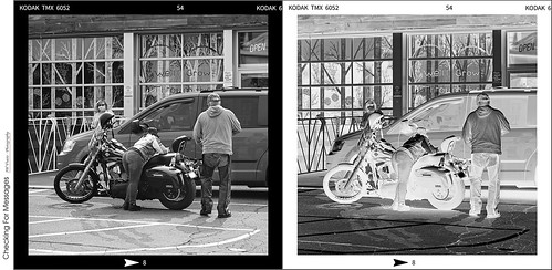 grimsby motorcycle bike riders man woman chaps phoneconversation blackandwhite monochrome bw filmstrip negative positive opensource rawtherapee gimp nikon d800 afsnikkor24120mm140