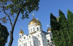 Russian Federation, Holy Moscow, the view of Cathedral of Christ the Saviour from Soymonovsky Passage, Volkhonka street / Prechistenskaya Embankment, Khamovniki district. Православнаѧ Црковь.