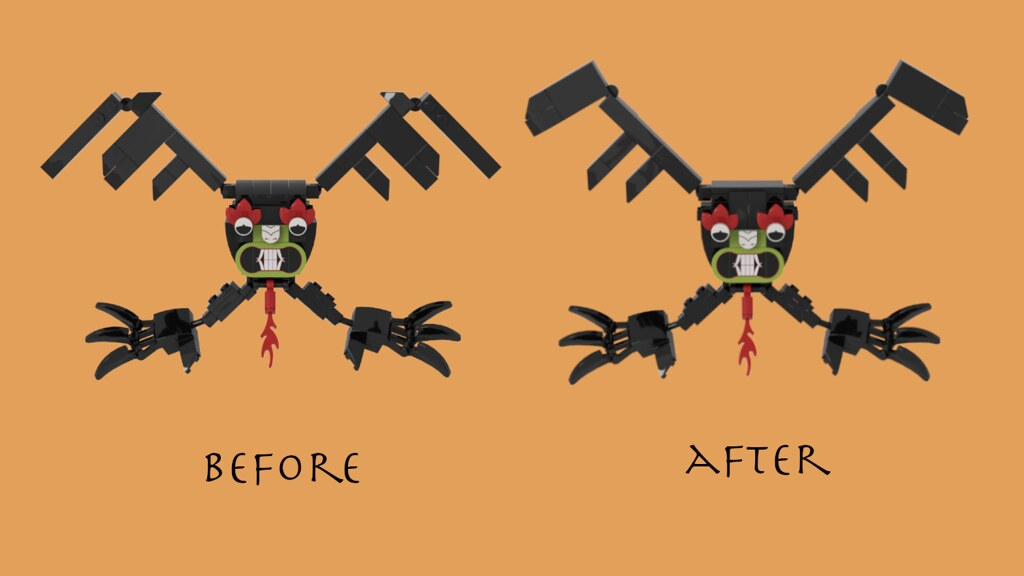Aku Winged Form Before & After
