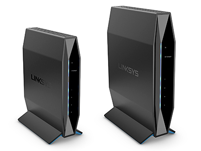 From Left: The new Linksys E5600 (AC1200) WiFi 5 and E7350 (AX1800) WiFi 6 routers offer greater speeds for faster downloads, lower latency for more network reliability and the ability to connect more devices at once.