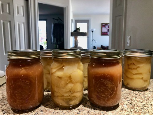 Canned pears and applesauce