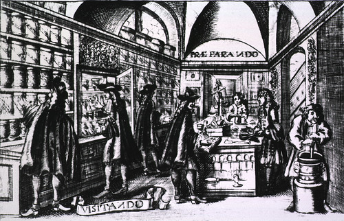 Pharmacies: Interior view of 17th cent. shop | by National Library of Medicine - History of Medicine