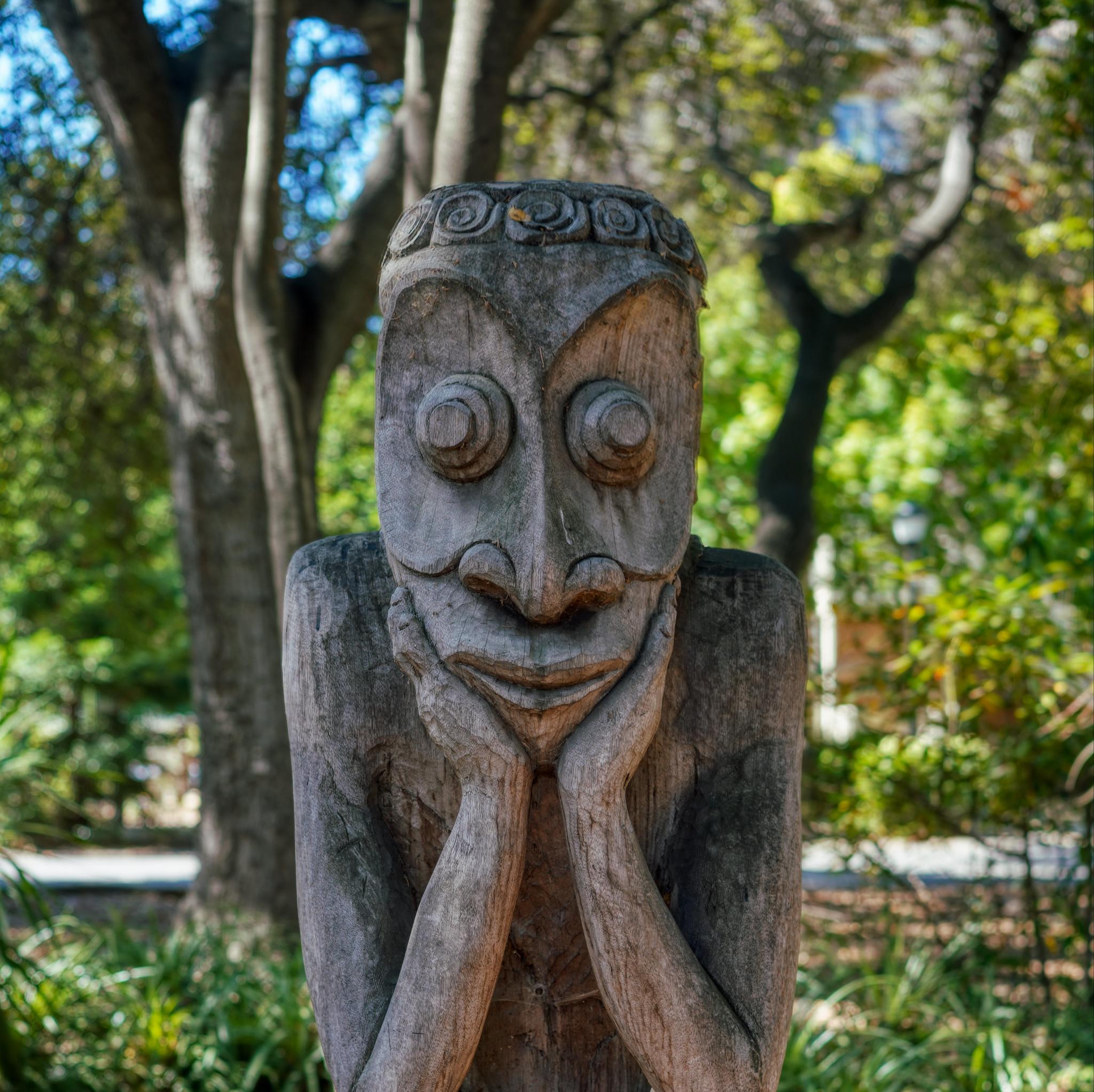 Wooden Statue Squatting