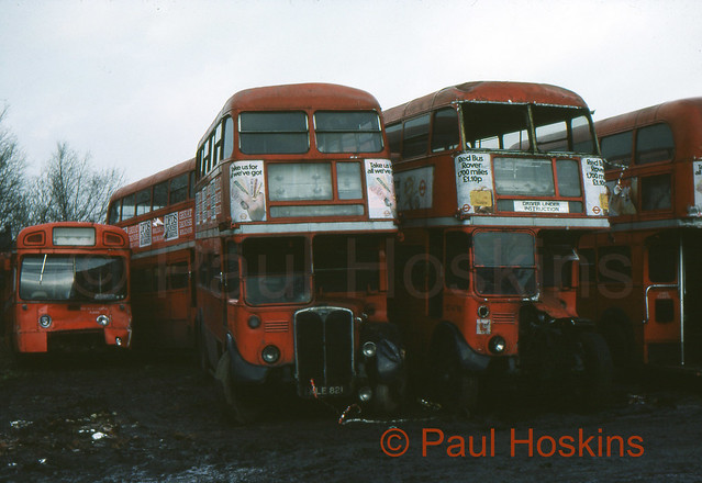 LONDON TRANSPORT RT3714 NLE821 & RT4795 NXP937 Wombwell Diesels. From a slide dated 04.78