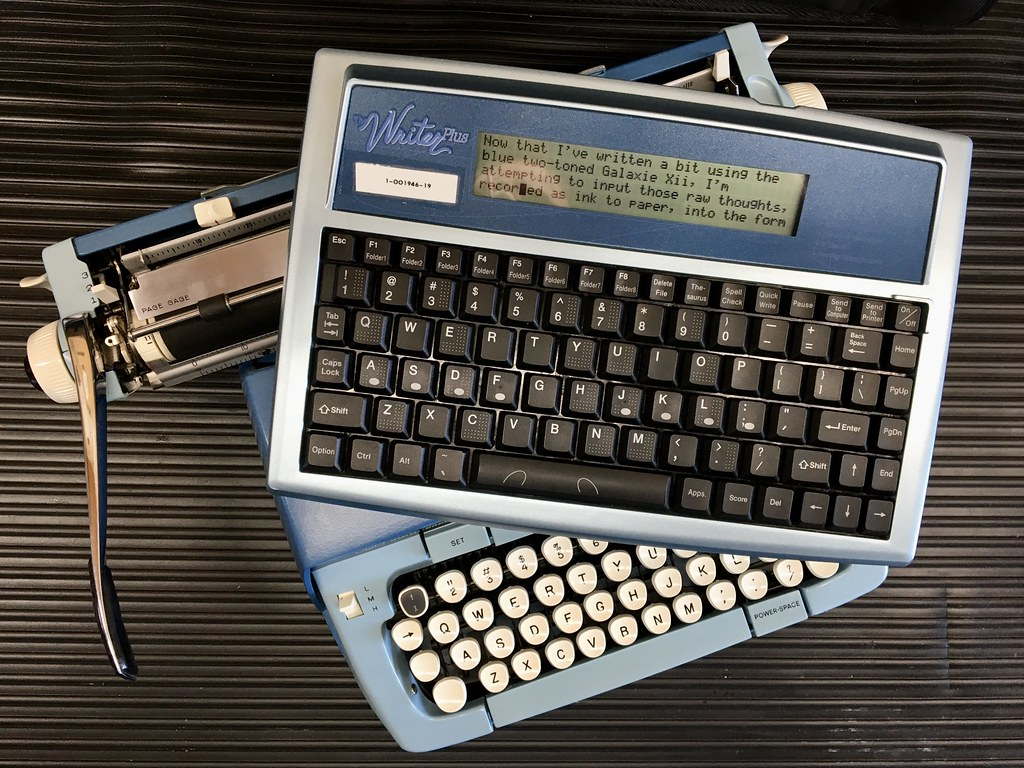 SCM Galaxie Twelve and The Writer Plus, text-entry keyboard