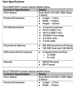 Technical specifications for the Linksys E5600 (AC1200) WiFi 5 and E7350 (AX1800) WiFi 6 routers. Click to enlarge.