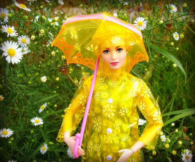 Sunny in raincoat