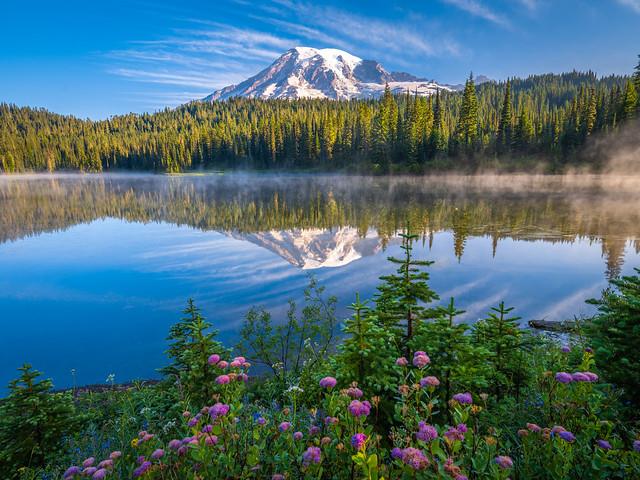 Reflection Lakes Mount Rainier National Park Wildflowers Superbloom Fuji GFX100 Fine Art Landscape Nature Photography! Washington State Art! Elliot McGucken 45EPIC Master Medium Format Photographer Fuji GFX 100 & Fujinon Fujifilm GF Lens!