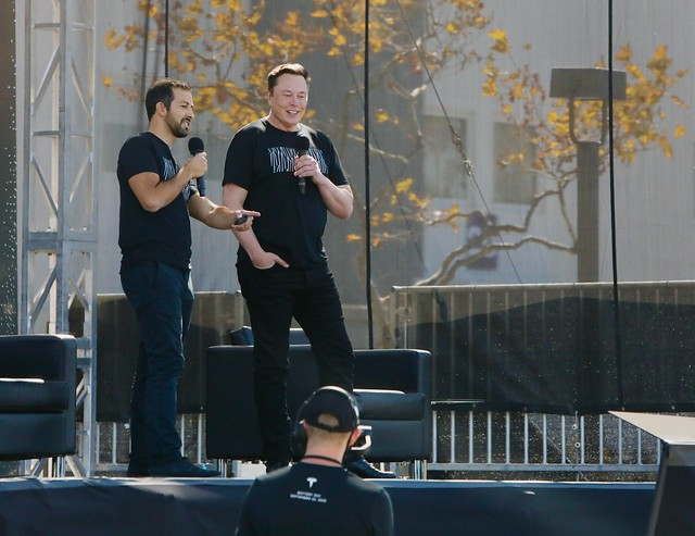 Elon Musk and Drew Baglio at Tesla's Battery Day