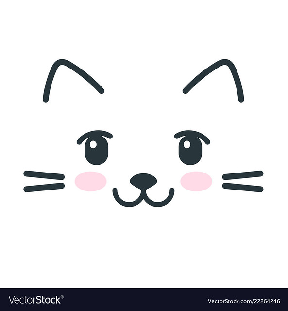 Cute cat face icon isolated on white