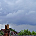 Rain clouds over Preston rooftops