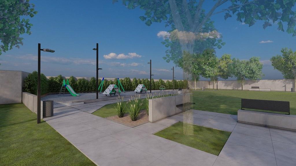 Plaza Barrio Las Acacias en proyecto
