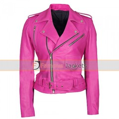 Jessica Alba Brando Belted Biker Jacket