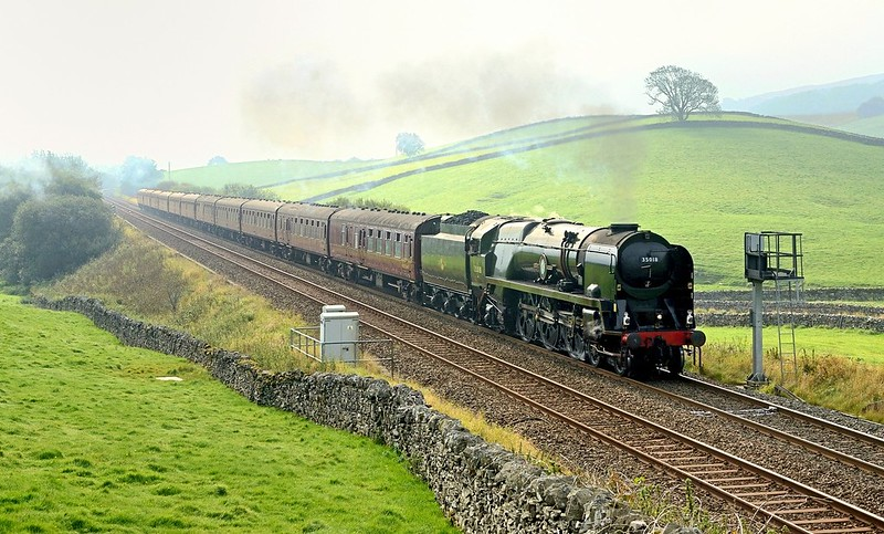 In weird lighting conditions with some weak sun breaking through the low mist and cloud,BIL heads to Carlisle with the Dalesman Copyright David Price No unauthorised use