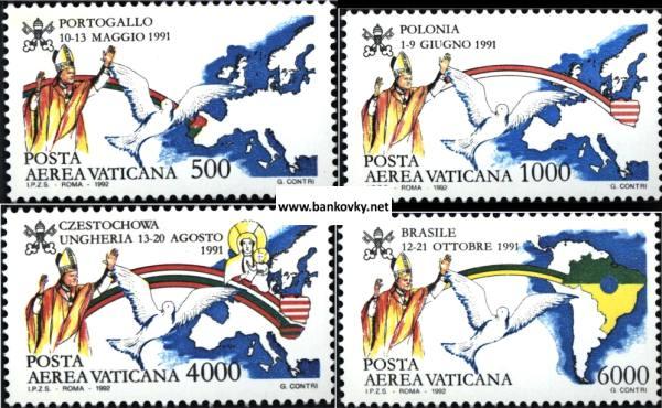 Známky Vatikán 1992 Pápežove cesty séria MNH