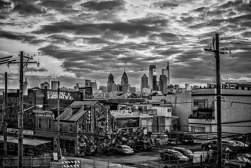 sunset philadelphia roof top street bw blackwhitephotography nikon50mmf18g nikond750 lines