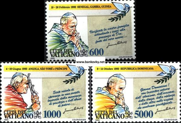 Známky Vatikán 1993 Pápežove cesty séria MNH