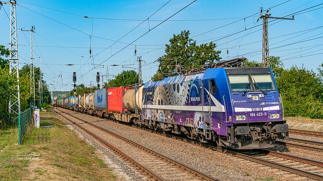 RTBCargo (Rpool) 186 423-0 mit Containerzug am 12.09.2020 in Saarmund