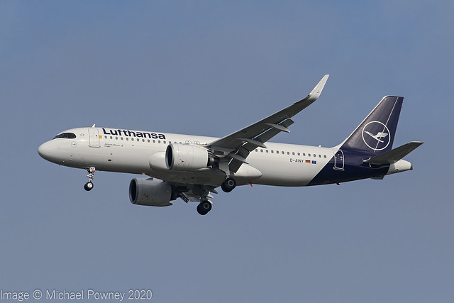 D-AINY - 2020 build Airbus A320-271N, on approach to Runway 23R at Manchester
