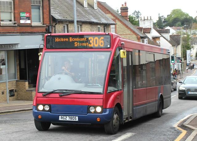 Trustybus / Galleon Travel ( 2009 ) Ltd . Roydon , Essex . RGZ7805 ( ex WX05RRY ) . Hockerill Street ( Hill ) , Bishop's Stortford , Hertfordshire . Thursday afternoon 24th-September-2020 .