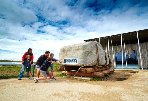 Pulling a stone at the Stonehenge Visitor Center. From The Magic and Mystery of Stonehenge