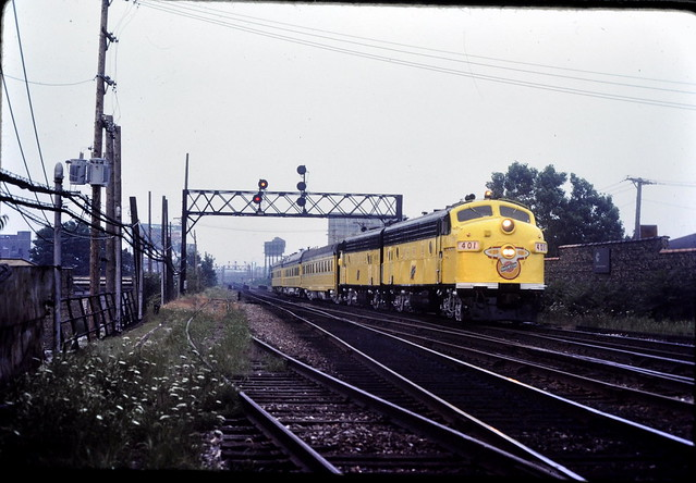 CNW F-units at Chicago IL Sept 1982